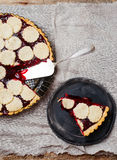 Almond tart with cherry. Stock Photography