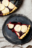 Almond tart with cherry. Stock Photo