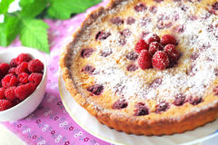 Almond tart with raspberries Royalty Free Stock Photos