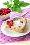 Almond tart with raspberries royalty free stock images
