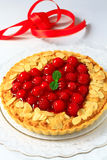 Almond tart with raspberyy Stock Image