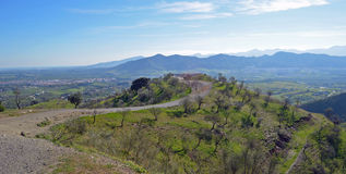 Almond Trees on Hills Around Cartama Royalty Free Stock Photos