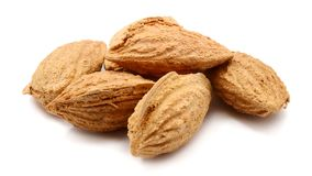 Almond. Two almond nuts composition  on white background Royalty Free Stock Photo