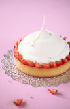 Almond Vanilla Mousse Cake with Strawberries Royalty Free Stock Photos
