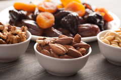 Almond, walnut and peanuts with dried fruits Stock Images