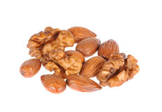 Almond and walnuts Stock Photos