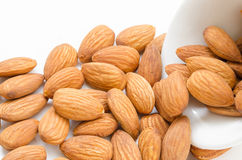 Almond in white bowl. stock image