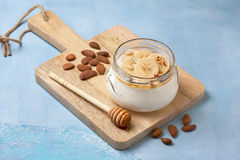 Almond yogurt with banana Royalty Free Stock Images