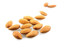 Almonds. Raw almonds on white background Royalty Free Stock Photo