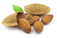 Almonds. On a white background royalty free stock photography