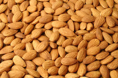 Almonds. Background created from a layer of almonds Royalty Free Stock Photo