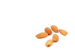 Almonds. Photo of Isolated Almonds on White Royalty Free Stock Images