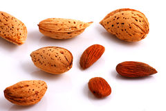 Almonds. On white background. Close-up Stock Photos