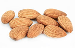 Almonds. Ripe almonds on white background Royalty Free Stock Photography
