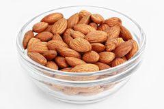 Almonds. Ripe almonds on white background Stock Photography