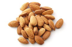 Almonds. On the white background Royalty Free Stock Photography