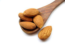 Almonds. Some golden almonds on a wooden spoon placed in complete white background Stock Photography