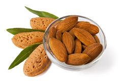 Almonds. In a glass bowl Stock Photography