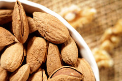 Almonds. Fresh almonds in a white utility delicious dish Royalty Free Stock Photography
