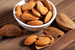 Almonds. Isolated on the white background Stock Photography