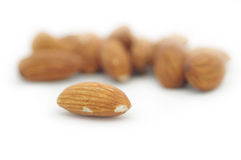 Almonds. Isolated on white background Royalty Free Stock Photo