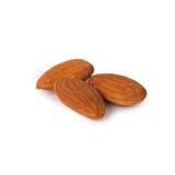 Almonds. A few raw almonds  on white background Stock Photo