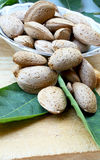 Almonds. Placed over the leaves Royalty Free Stock Photography