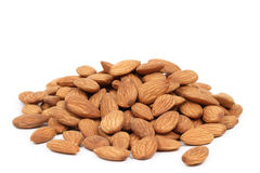 Almonds. Fresh almonds  on a white background Royalty Free Stock Photo
