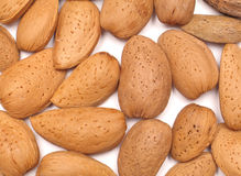 Almonds. Selection of almonds against a light background Royalty Free Stock Photos