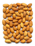 Almonds. Dry almonds kernel on white background from the top Royalty Free Stock Images