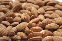 Almonds. The almonds handful have been photographed with small DOF Royalty Free Stock Photography