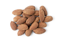 Almonds. Shelled almonds on white background royalty free stock images