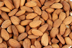 Almonds. Closeup of pile of almonds showing no part of background Royalty Free Stock Photography
