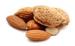 Almonds. Almond macro image over white background Stock Photography