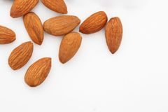 Almonds .Almond Nuts ,raw food. Almond Nuts on white background stock image