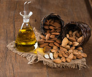 Almonds and almond oil Royalty Free Stock Image