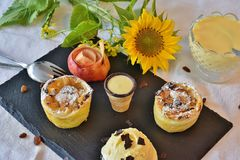 Almonds, Apple, Muffin Stock Photos