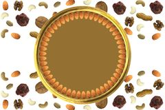 Almonds arranged in circle in Golden plate with Various dry fruit nuts and chocolate abstract pattern with free blank space Almond. S chocolate peanuts cashew royalty free illustration