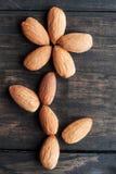 Almonds arranged in flower shape Stock Photos