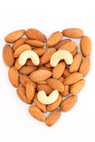 Almonds arranged in heart shape Stock Image