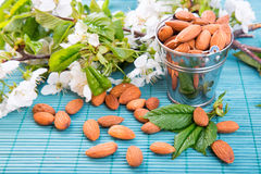 Almonds in a backet Royalty Free Stock Image