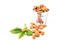 Almonds in a backet Royalty Free Stock Photo