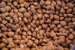 Almonds. A background of almonds sold at the market Royalty Free Stock Photos