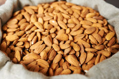 Almonds in a bag Royalty Free Stock Photo