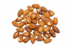 Almonds baking with salt Royalty Free Stock Photography