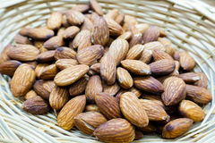 Almonds in basket Royalty Free Stock Photography