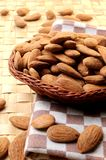 Almonds on basket dried fruit healthy diet Stock Photography