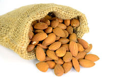 Almonds in Berlap Sac. Stock Image