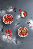 Almonds, Berries, Bowls Stock Images