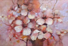 Almonds blossom handmade  painting. Almonds blossom handmade oil painting on canvas Royalty Free Stock Images